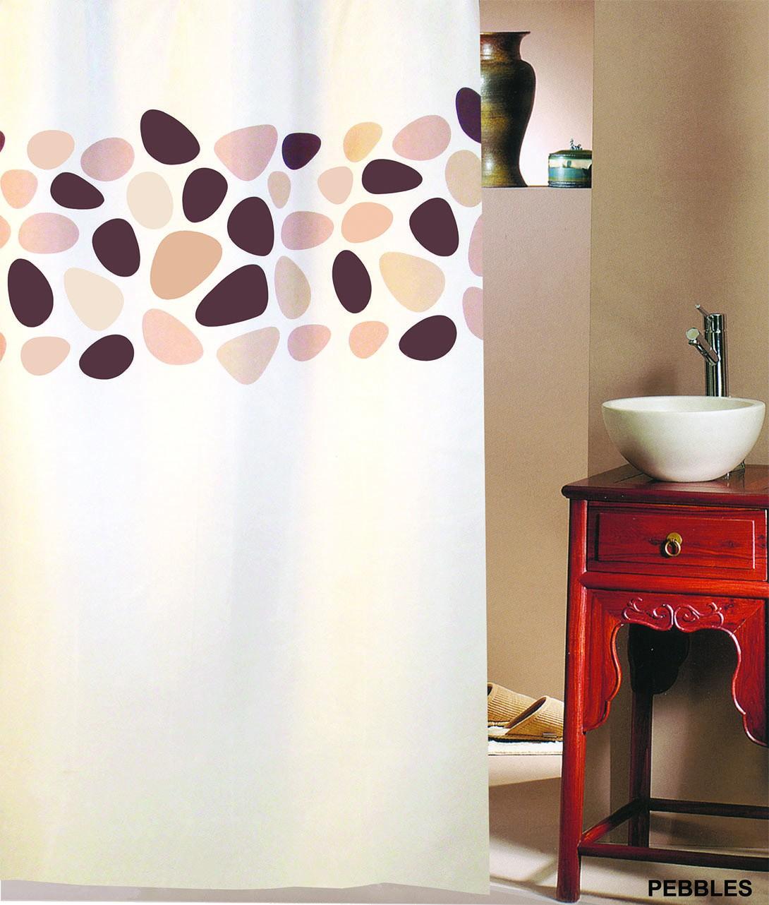 Κουρτίνα Μπάνιου (180×200) San Lorentzo Pebbles Brown