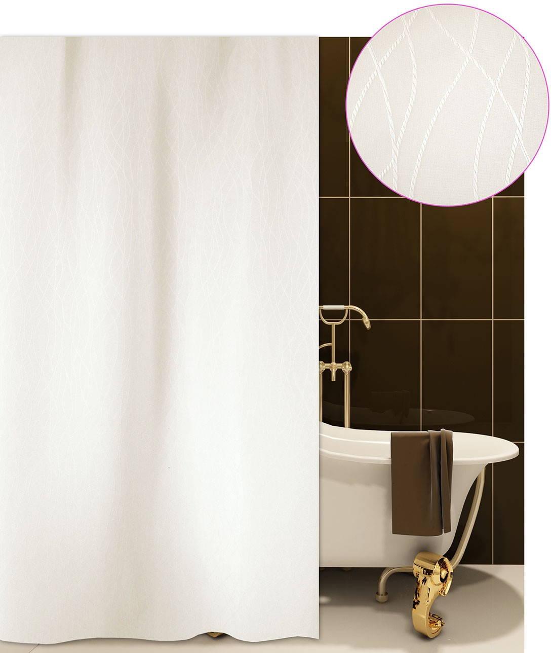 Κουρτίνα Μπάνιου (180×220) San Lorentzo Berlin Beige