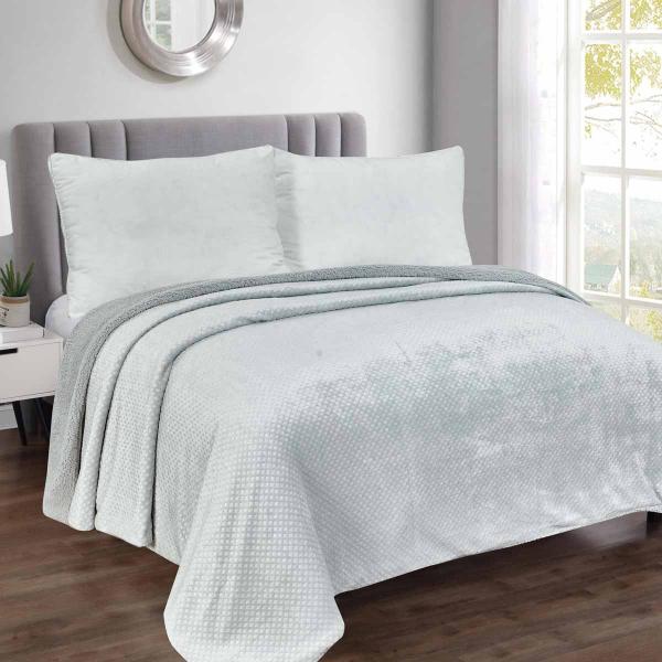 Κουβέρτα Fleece Υπέρδιπλη Με Γουνάκι Silk Fashion Damask Silver