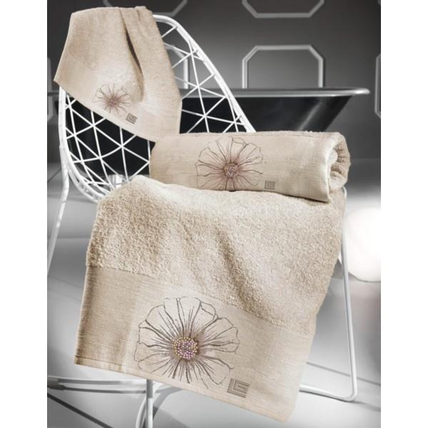 Πετσέτες Μπάνιου (Σετ 3τμχ) Guy Laroche Petal Flower Natural