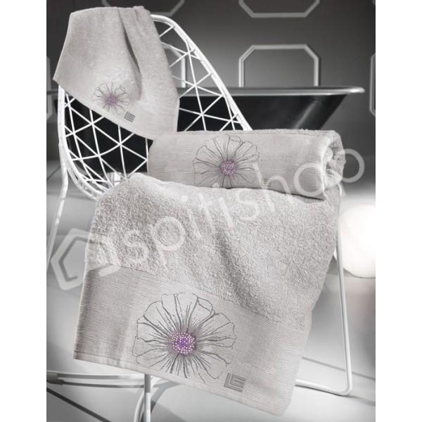 Πετσέτες Μπάνιου (Σετ 3τμχ) Guy Laroche Petal Flower Silver