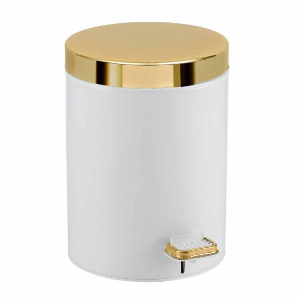 Κάδος Απορριμμάτων (20x28) PamCo 5Lit 105 White/Gold