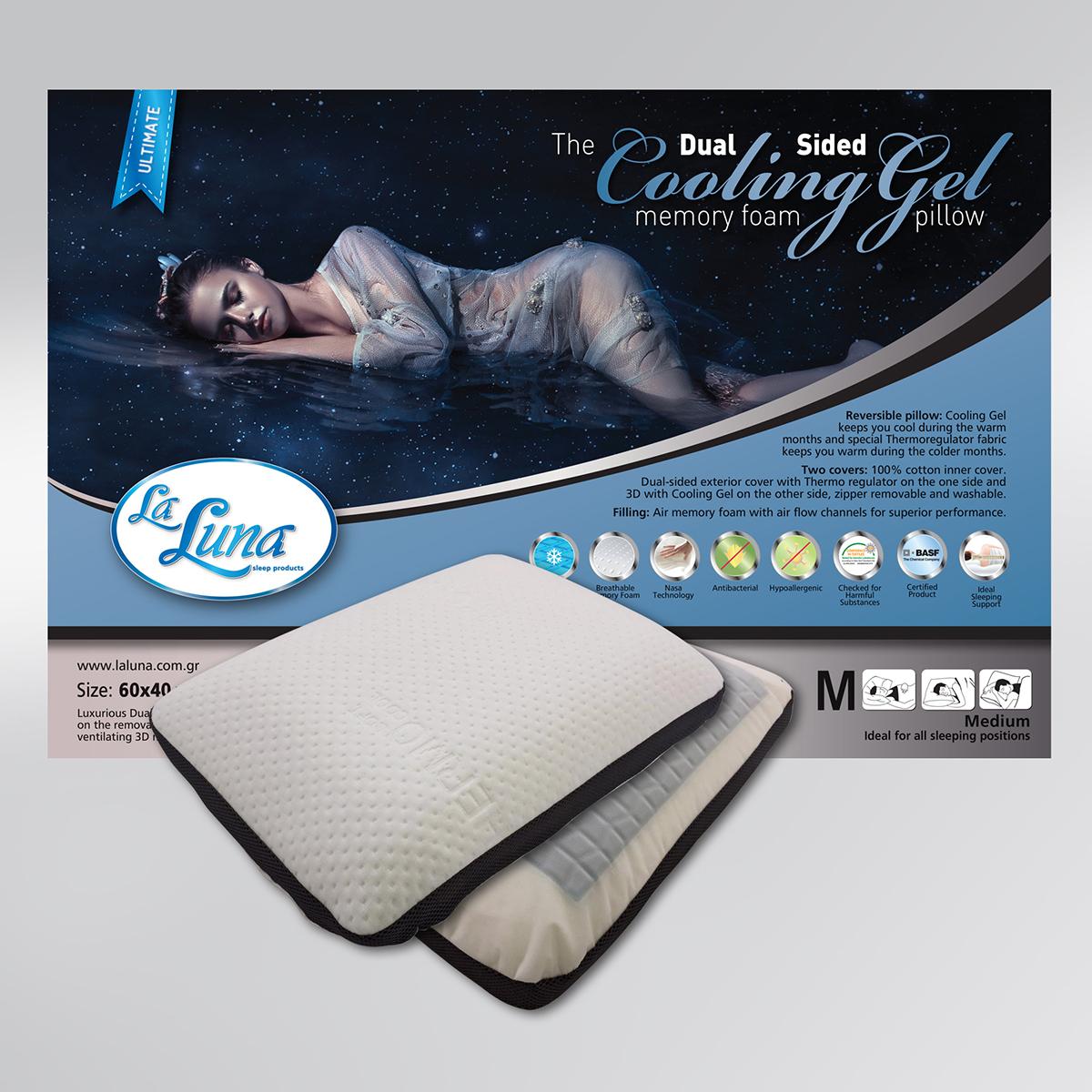 Μαξιλάρι Ύπνου Ανατομικό (60×40+12) La Luna Dual Sided Cooling Gel