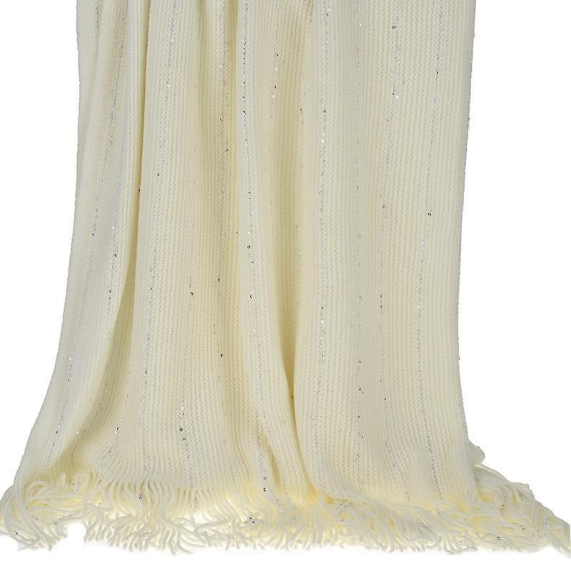 Κουβέρτα Καναπέ Πλεκτή InArt Cream Fringes 3-40-322-0001