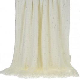 Κουβέρτα Καναπέ Πλεκτή InArt Ivory Fringes 3-40-322-0002