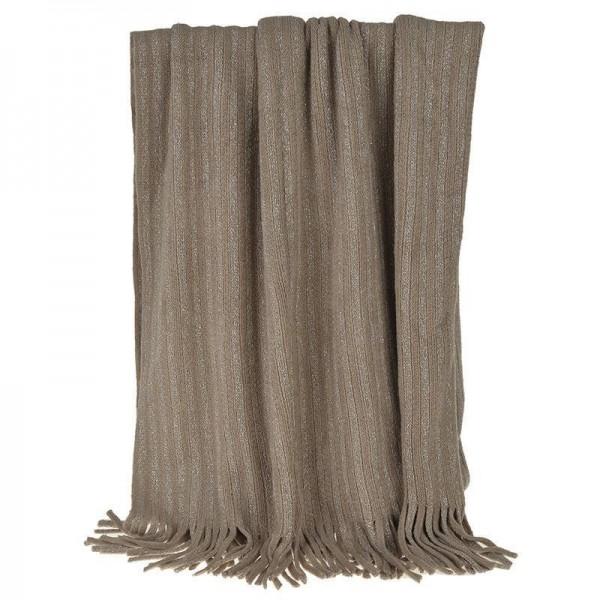 Κουβέρτα Καναπέ Πλεκτή InArt Brown Fringes 3-40-322-0009