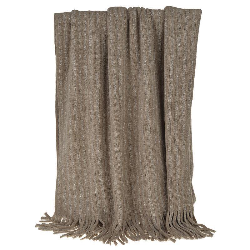 Κουβέρτα Καναπέ Πλεκτή InArt Brown Fringes 3-40-322-0009 home   σαλόνι   κουβέρτες καναπέ