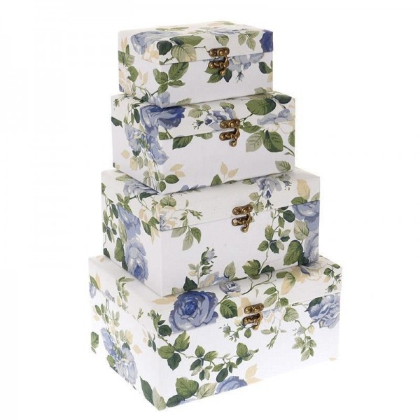 Κουτιά Αποθήκευσης (Σετ 4τμχ) InArt Blue Rose 0022