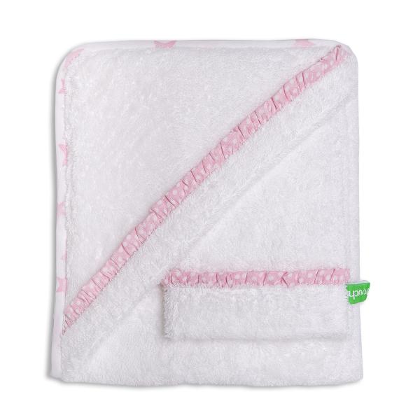 Βρεφική Κάπα + Γάντι Μπάνιου Mother Touch Basic Pink