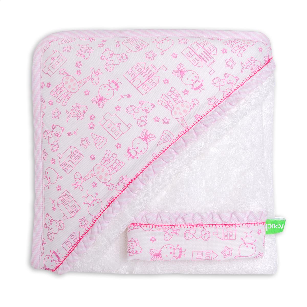 Βρεφική Κάπα + Γάντι Μπάνιου Mother Touch Akira Pink