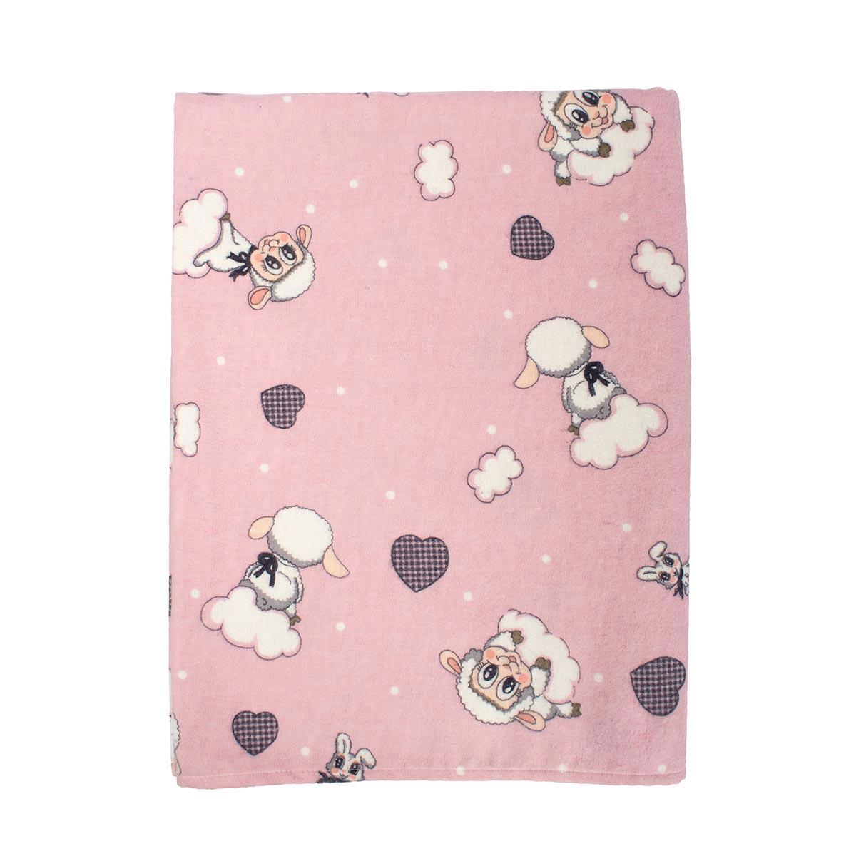 Φανελένιο Πάπλωμα Κούνιας Dimcol Προβατάκι 05 Pink