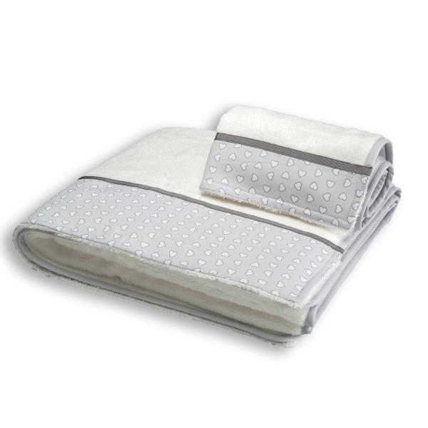 Βρεφικές Πετσέτες (Σετ 2τμχ) Mother Touch Hearts Grey