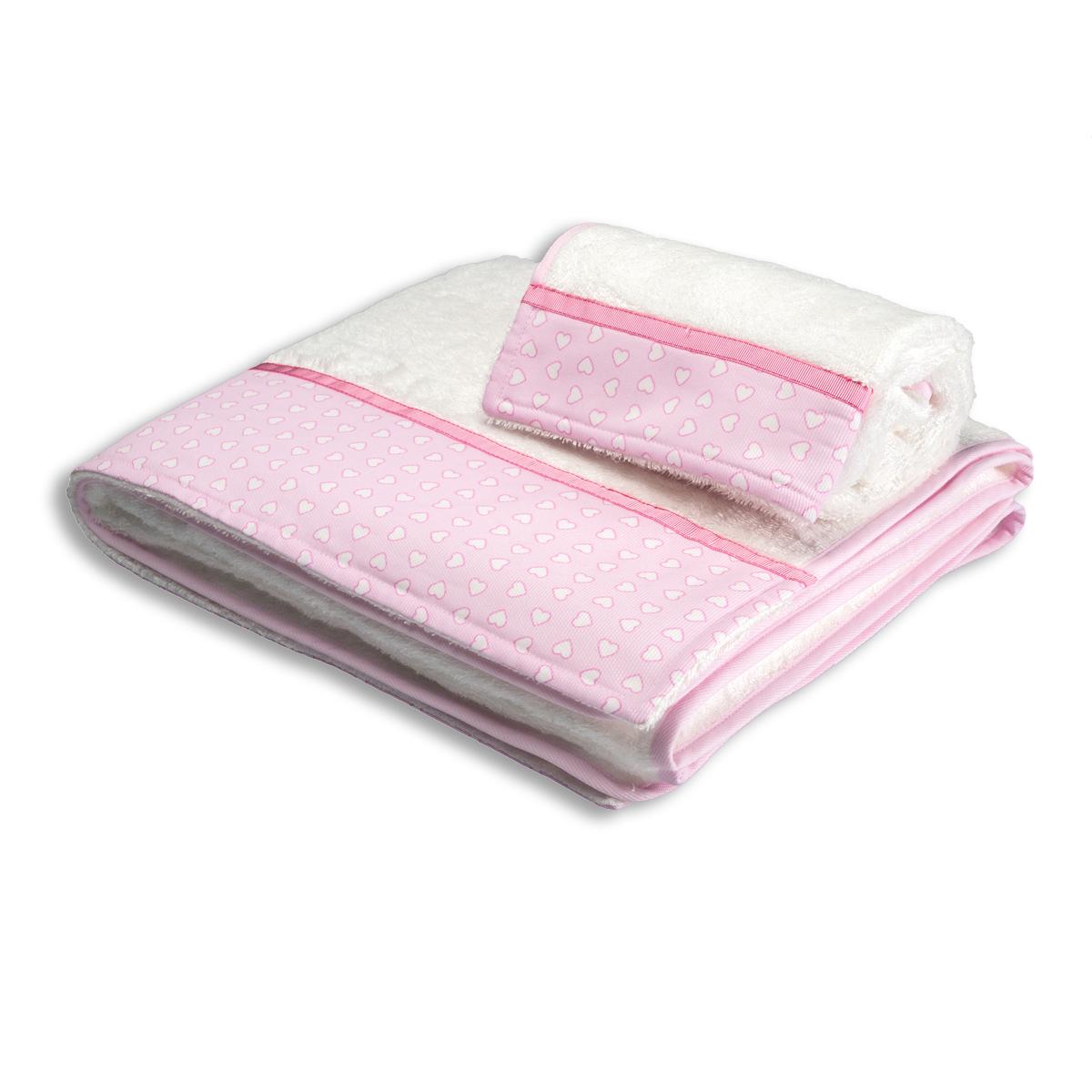 Βρεφικές Πετσέτες (Σετ 2τμχ) Mother Touch Hearts Pink