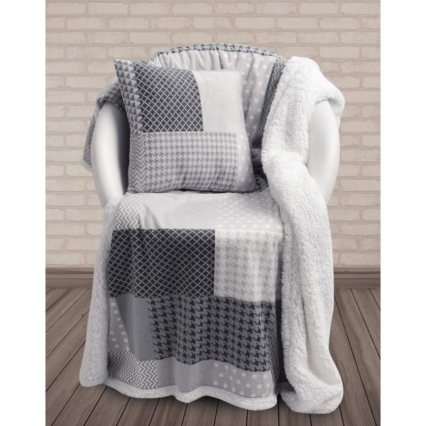 Κουβέρτα Καναπέ + Μαξιλάρι Με Γουνάκι Das Home 326