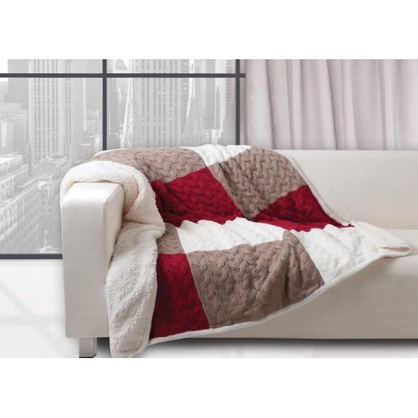 Κουβέρτα Καναπέ Πλεκτή Με Γουνάκι Das Home 319
