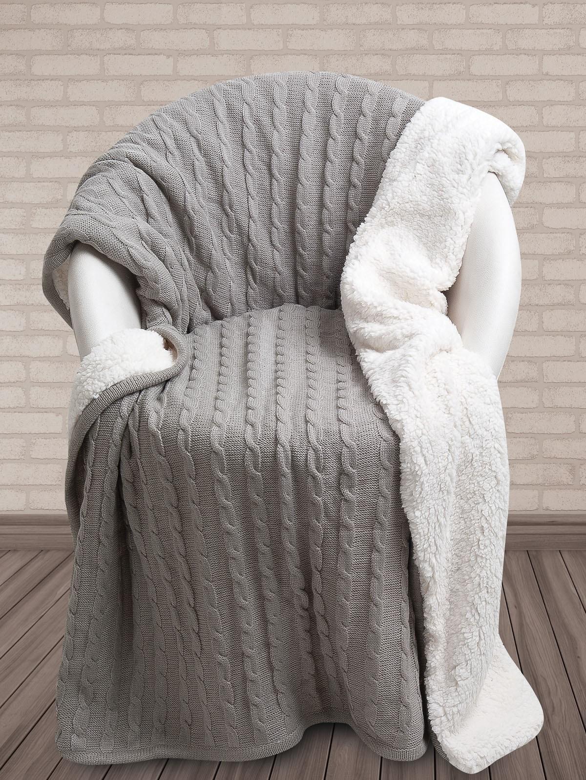 Κουβέρτα Καναπέ Πλεκτή Με Γουνάκι Das Home 322 home   σαλόνι   κουβέρτες καναπέ