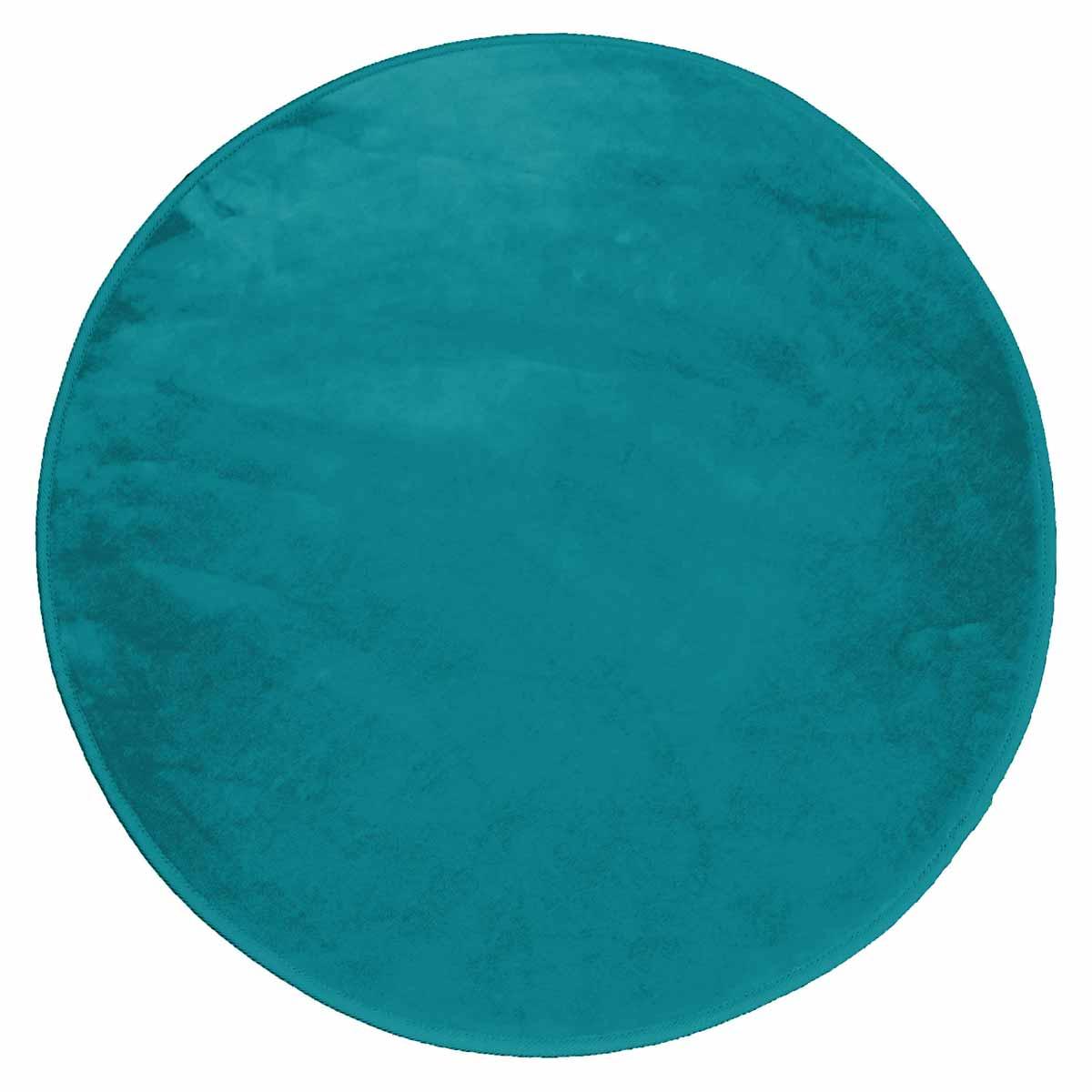 Στρογγυλό Πατάκι (Φ90) L-C Velvet Louna Bleu Lagon 1605957