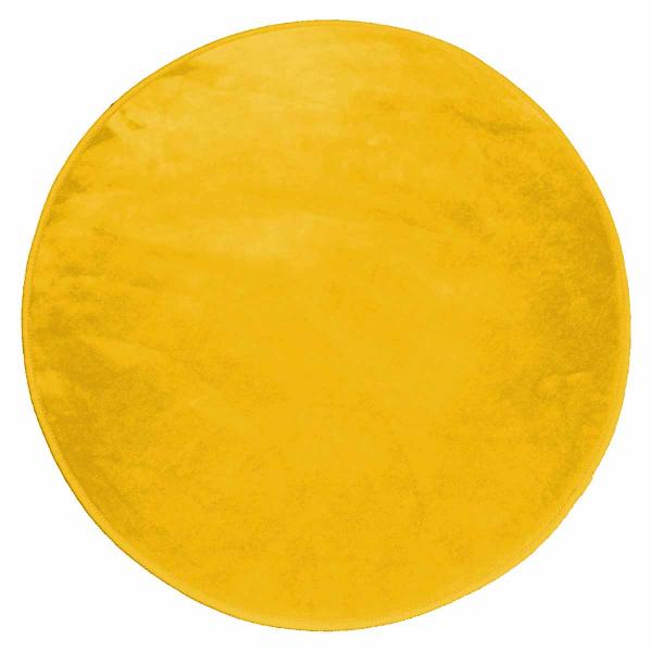 Στρογγυλό Πατάκι (Φ90) L-C Velvet Louna Moutarde 1605958
