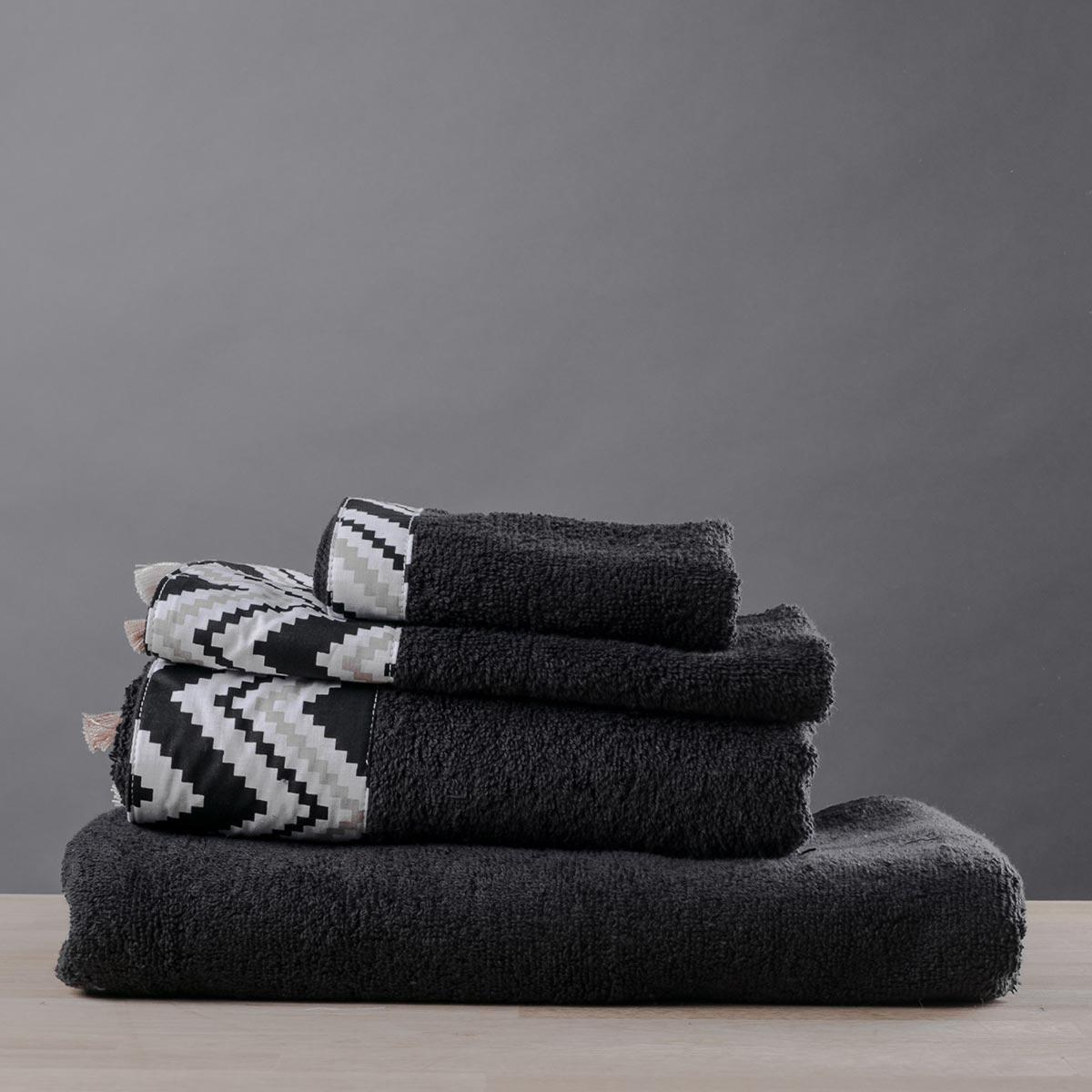 Πετσέτα Σώματος (70x140) White Fabric Cedar Black