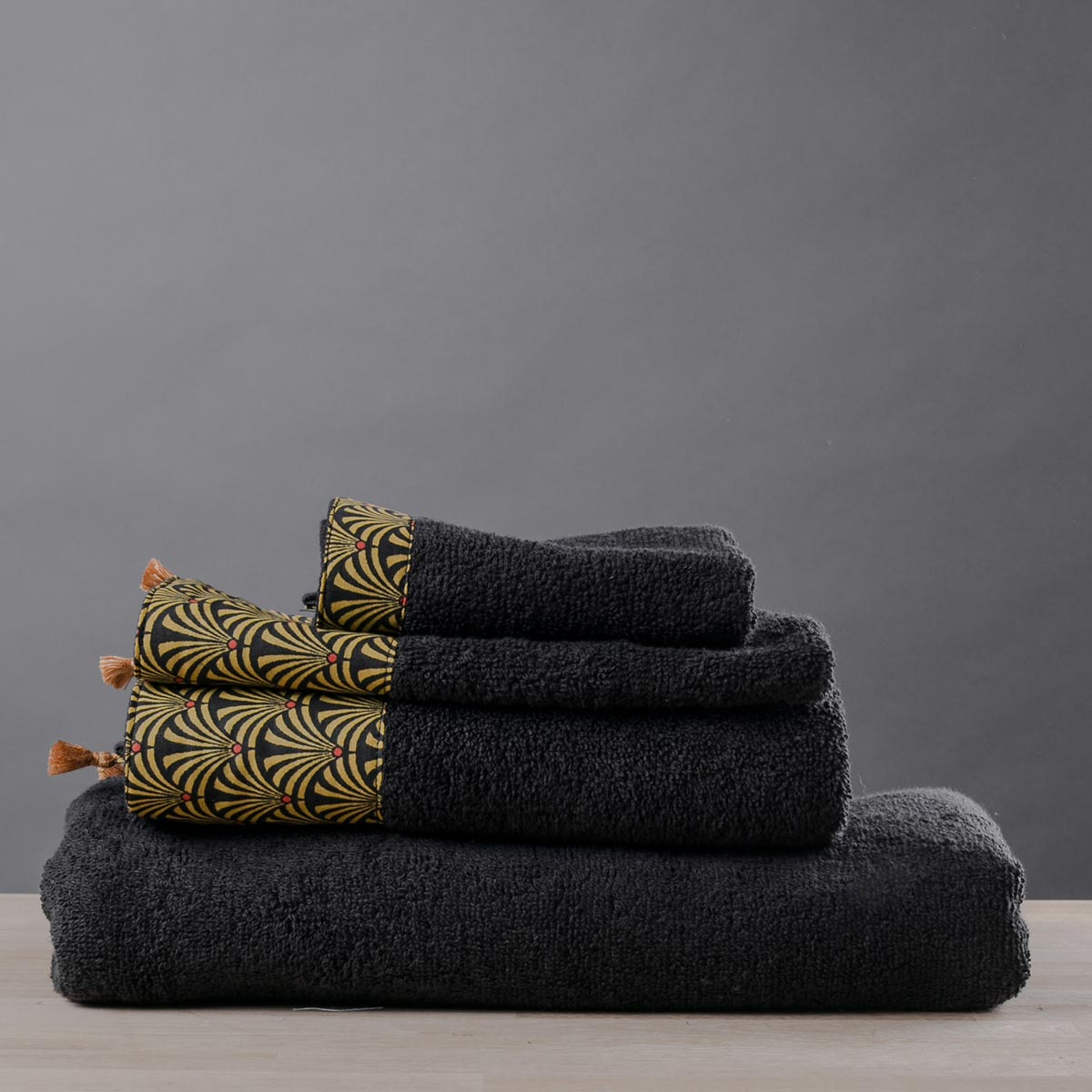 Πετσέτες Μπάνιου (Σετ 3τμχ) White Fabric Jadee Black