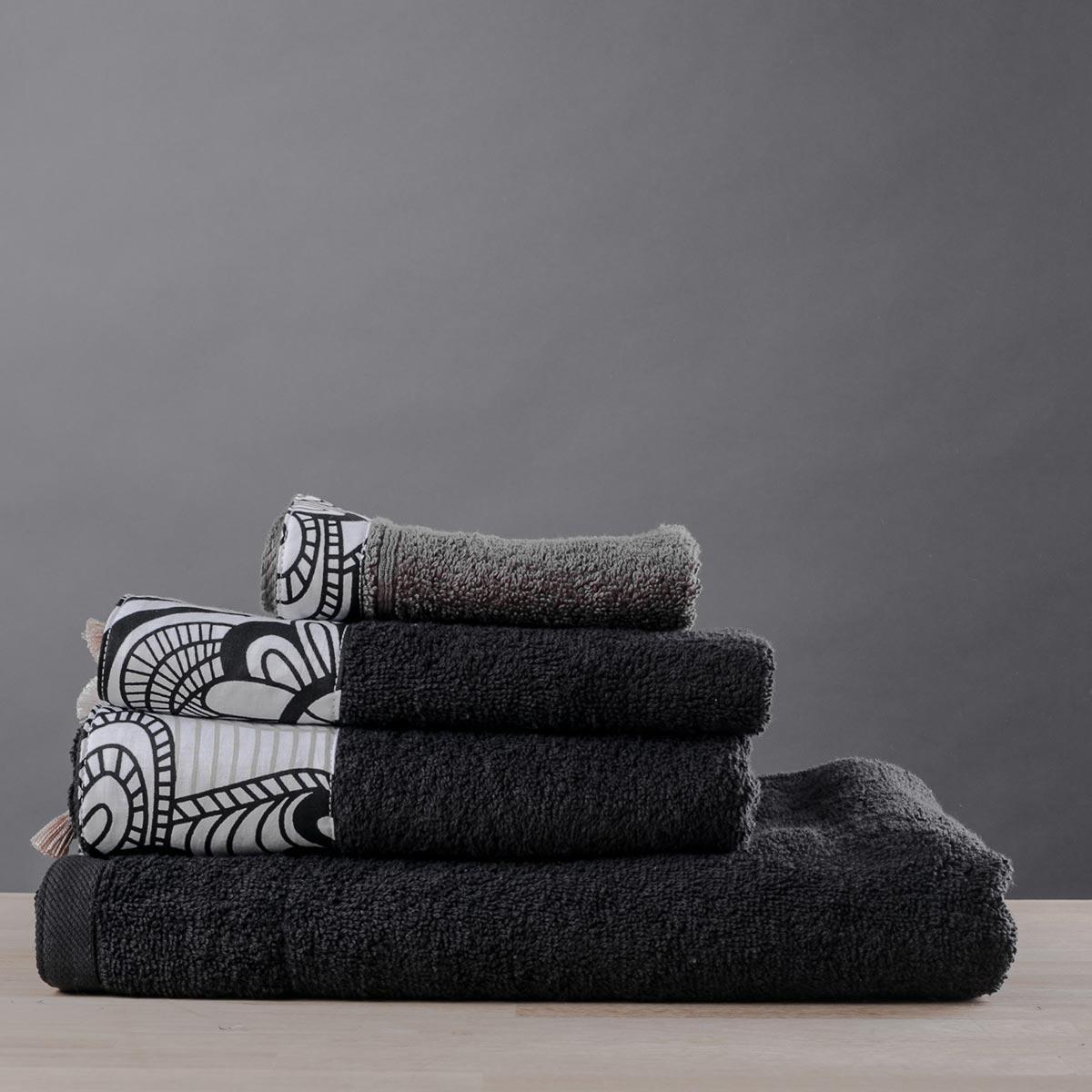 Πετσέτες Μπάνιου (Σετ 3τμχ) White Fabric Damask Black