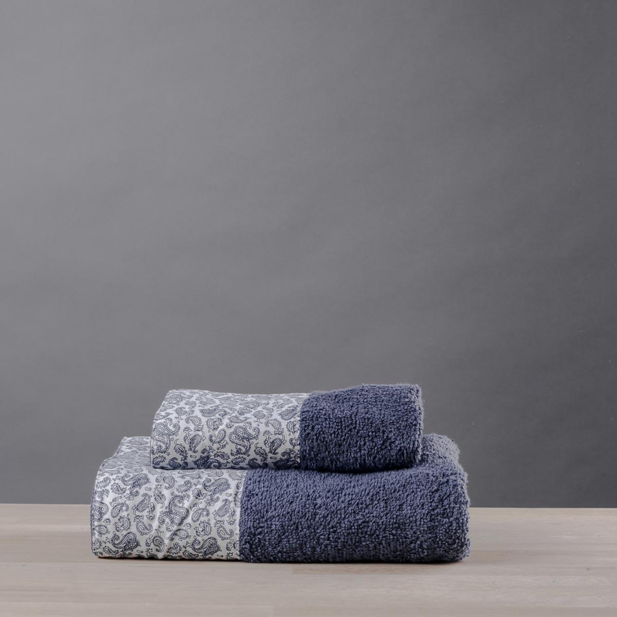 Πετσέτα Χεριών (30×50) White Fabric Paisley Blue