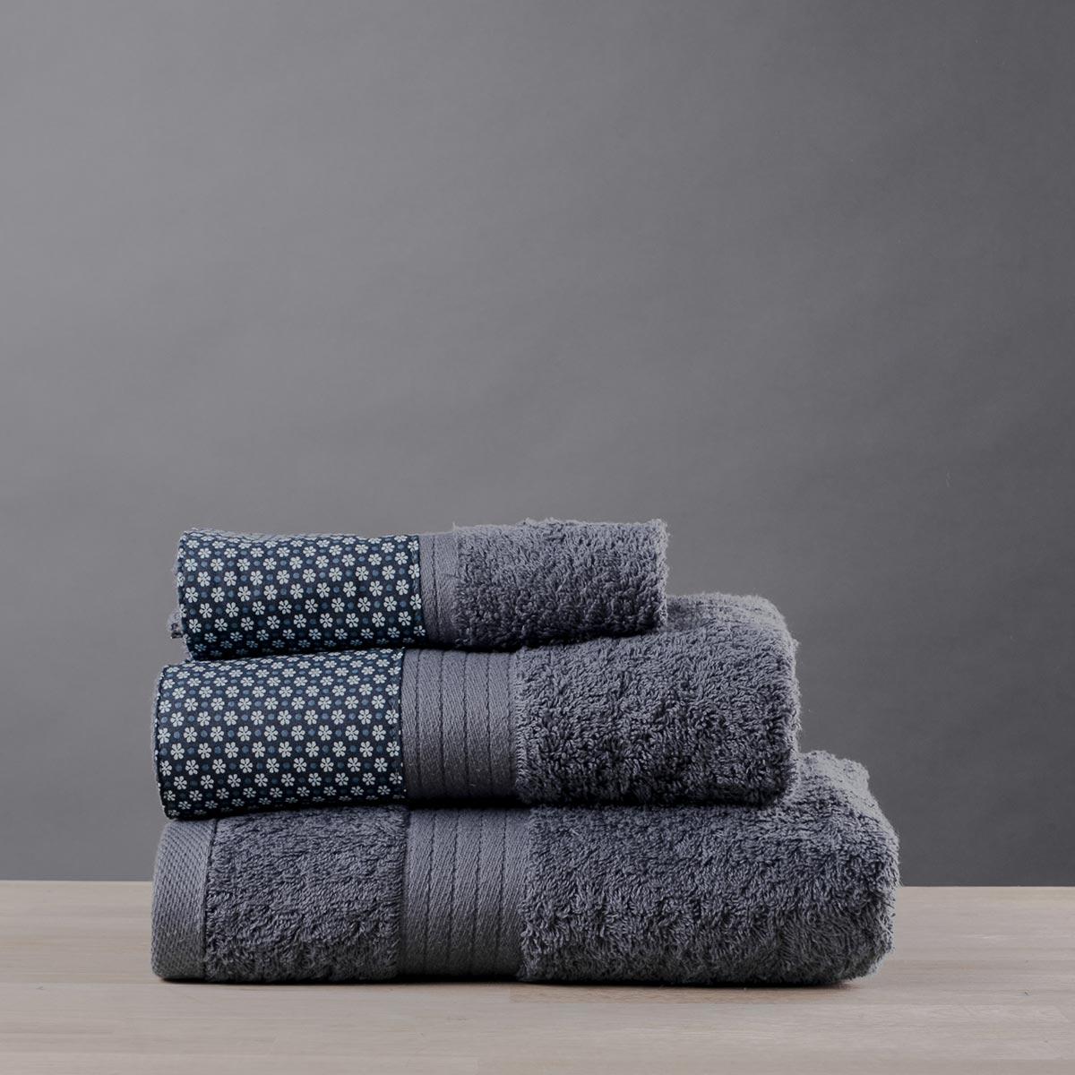 Πετσέτες Μπάνιου (Σετ 3τμχ) White Fabric Dante Grey