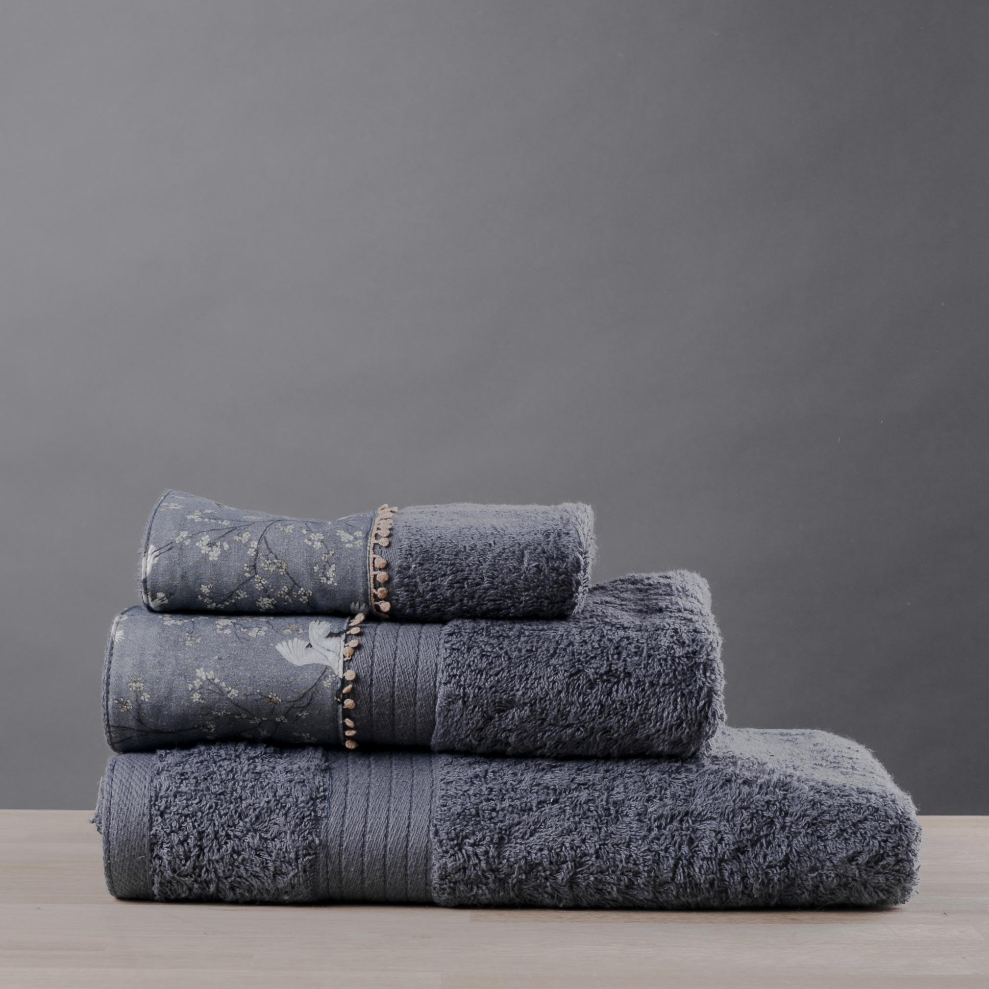 Πετσέτες Μπάνιου (Σετ 3τμχ) White Fabric Blue Bird Grey