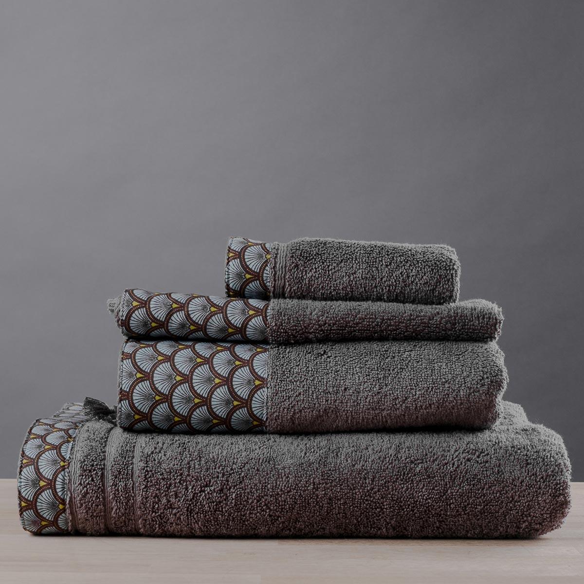 Πετσέτες Μπάνιου (Σετ 3τμχ) White Fabric Trellis Beige