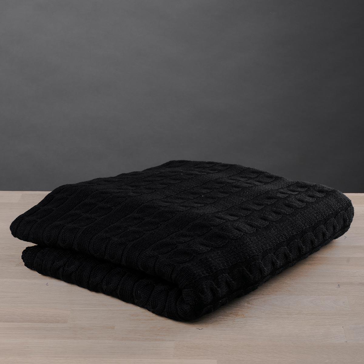 Κουβέρτα Καναπέ Πλεκτή White Fabric Old Navy Black