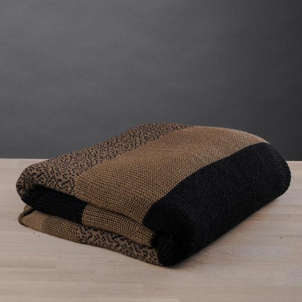 Κουβέρτα Καναπέ Πλεκτή White Fabric Stripes Brown