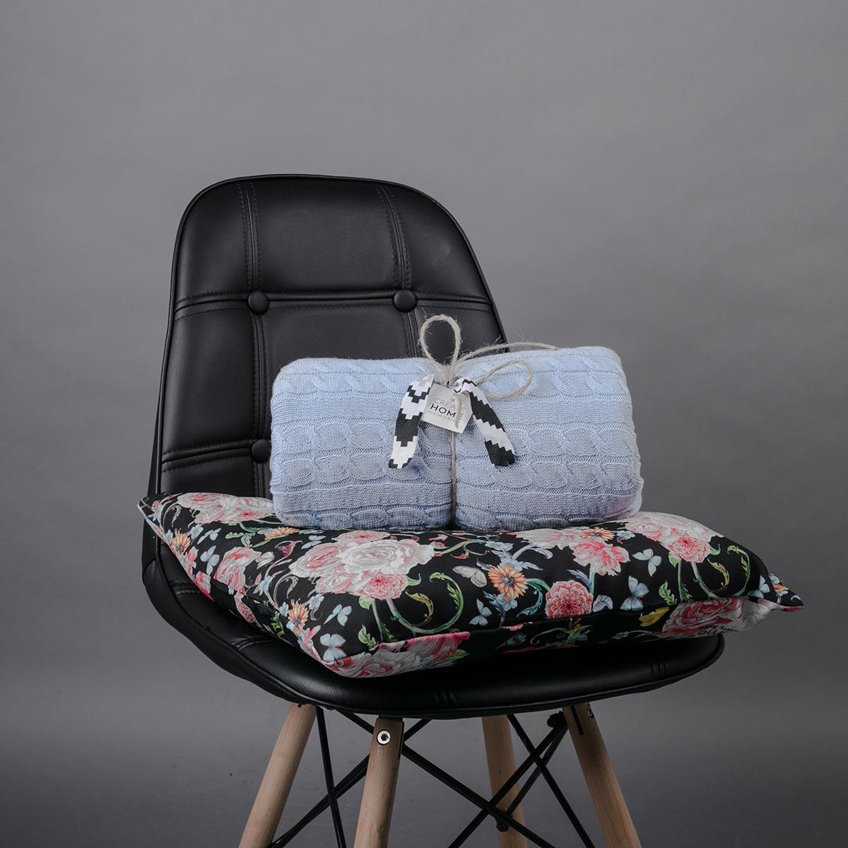 Κουβέρτα Καναπέ Πλεκτή White Fabric Old Navy Light Blue