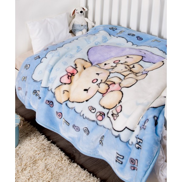 Κουβέρτα Βελουτέ Κούνιας Kentia Baby Numbers