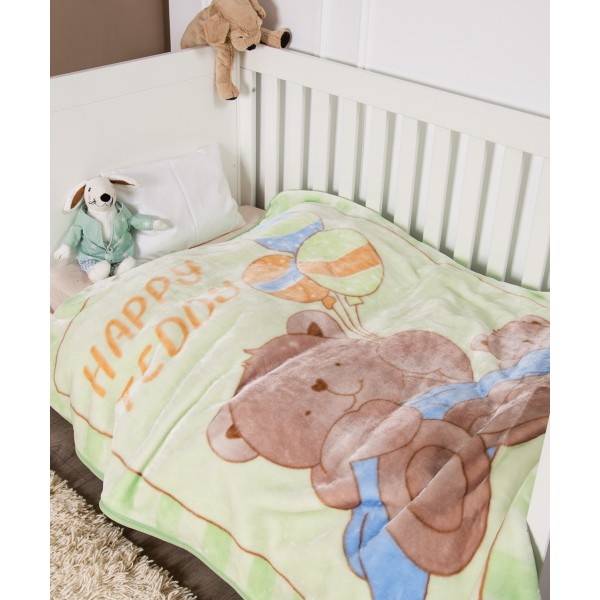 Κουβέρτα Βελουτέ Κούνιας Kentia Baby Happy Teddy