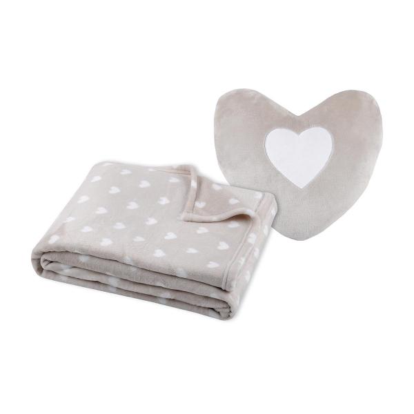 Κουβέρτα Fleece Κούνιας + Μαξιλάρι Καρδιά S-F Cocoon Lin P2A243003