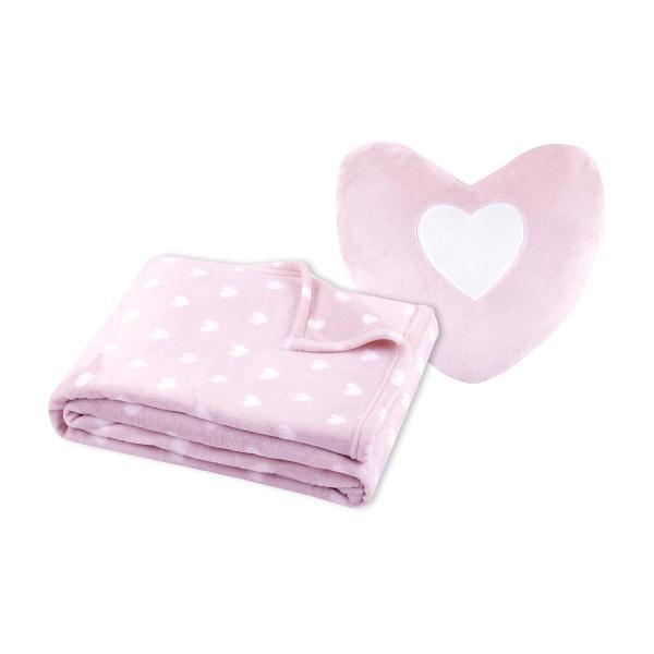 Κουβέρτα Fleece Κούνιας + Μαξιλάρι Καρδιά S-F Cocoon Rose P2A243004