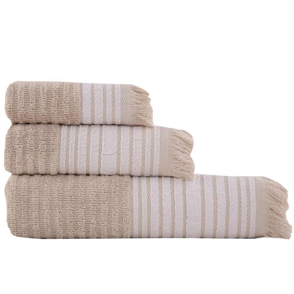 Πετσέτες Μπάνιου (Σετ 3τμχ) Nef-Nef Austin Beige
