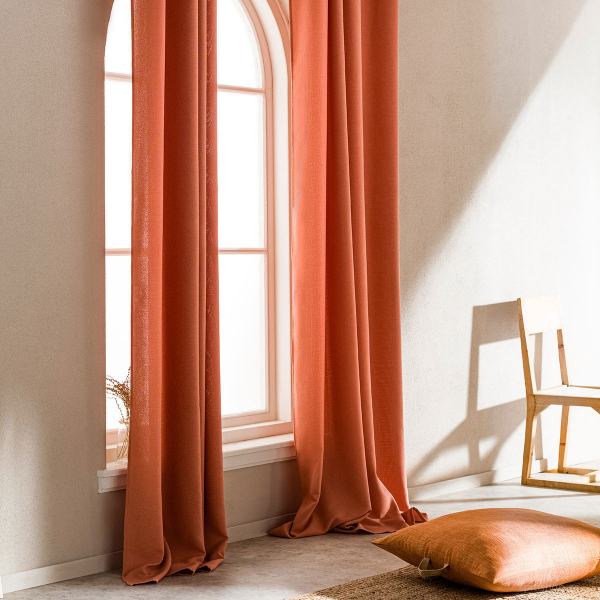 Κουρτίνα (140x280) Με Τρουκς Gofis Home Shine Orange 661/03