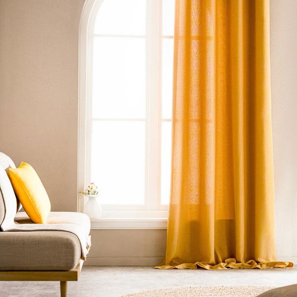 Κουρτίνα (140x280) Με Τρουκς Gofis Home Shine Ochra 661/04
