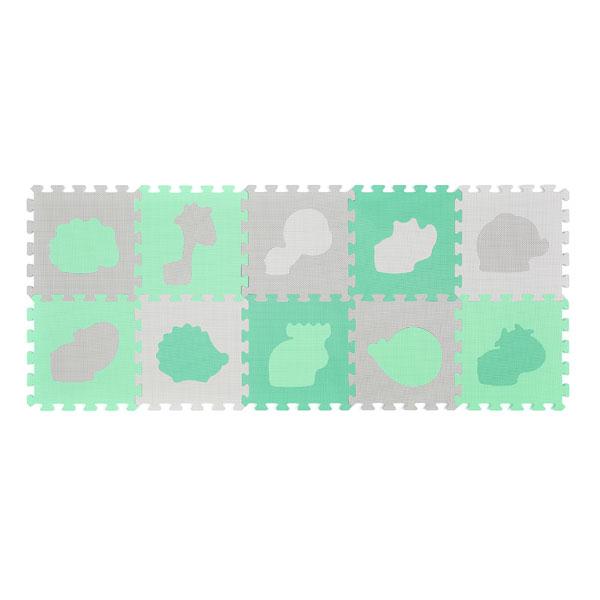 Αφρώδες Παζλ Δαπέδου (Σετ 10τμχ) BabyOno Σχήματα Πράσινο BN396/01
