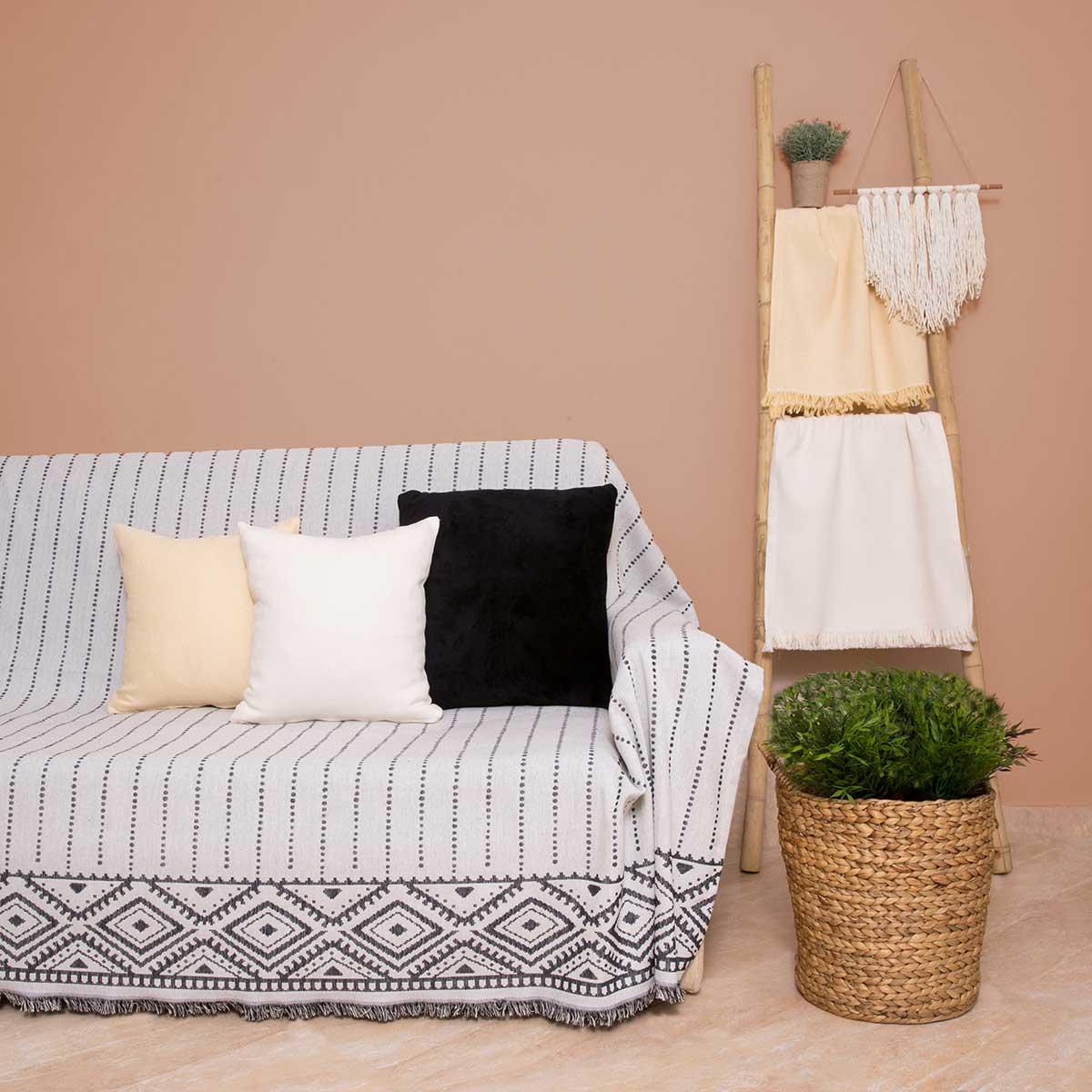 Ριχτάρι Πολυθρόνας (180×180) Loom To Room Alexandra Black/White