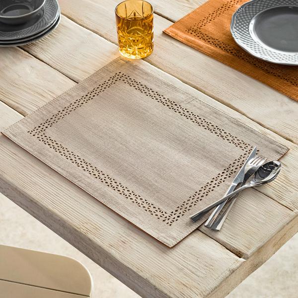 Σουπλά (Σετ 2τμχ) Gofis Home Artisan Linen/Tan 930/06