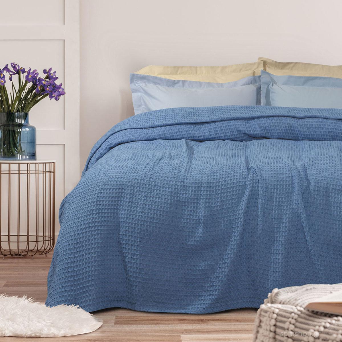 Κουβέρτα Πικέ Υπέρδιπλη Das Home Blanket 0437 Blue