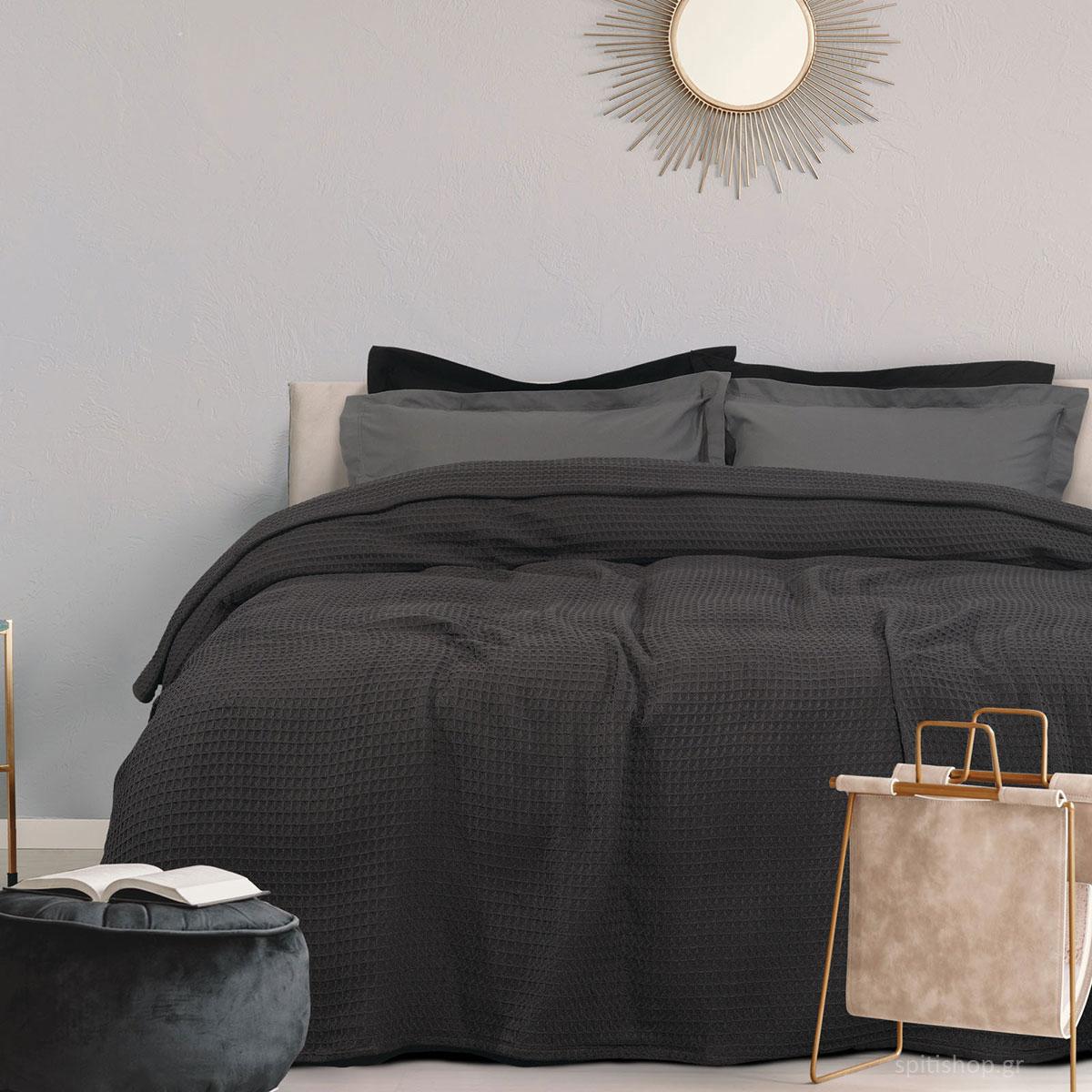 Κουβέρτα Πικέ Υπέρδιπλη Das Home Blanket 0439 Black