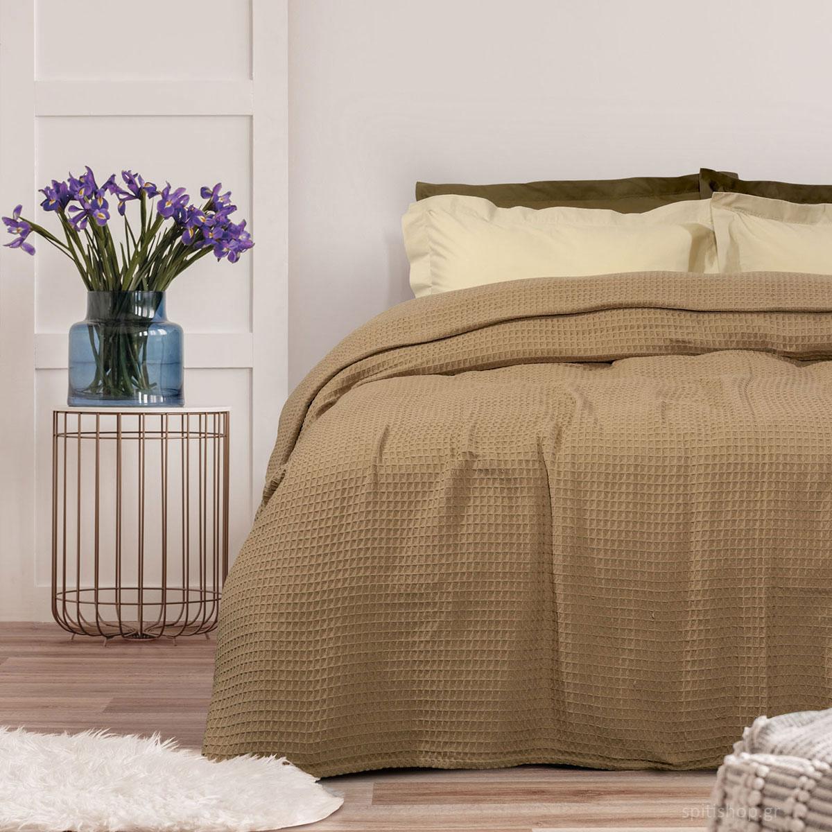Κουβέρτα Πικέ Μονή Das Home Blanket 435 Beige