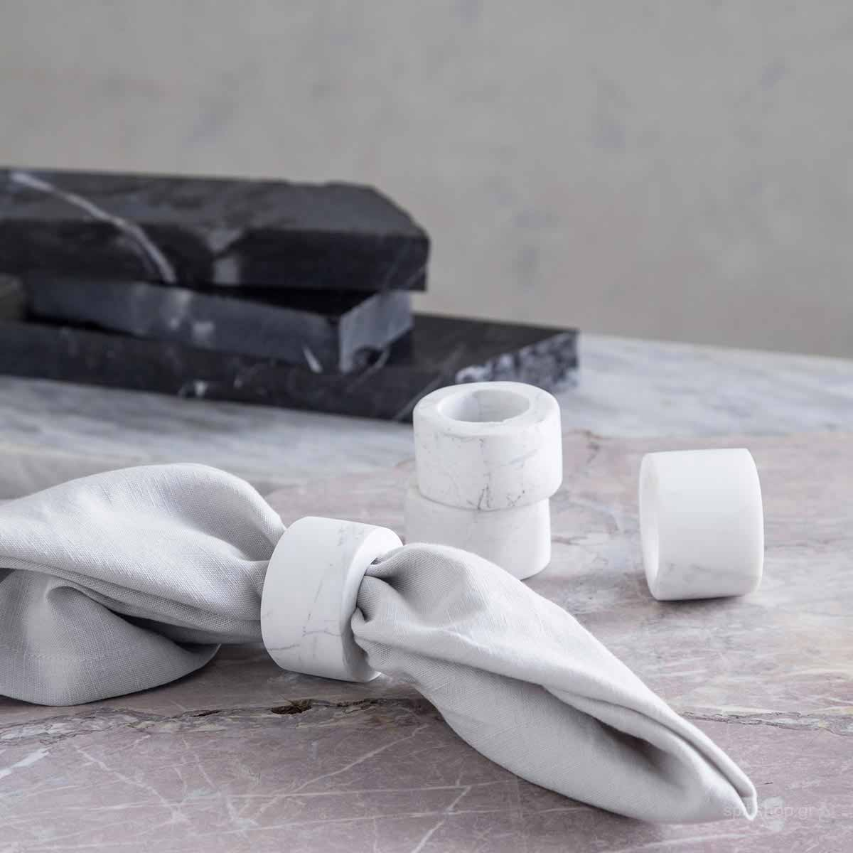 Κρίκοι Πετσέτας Φαγητού (Σετ 4τμχ) Nima Marble