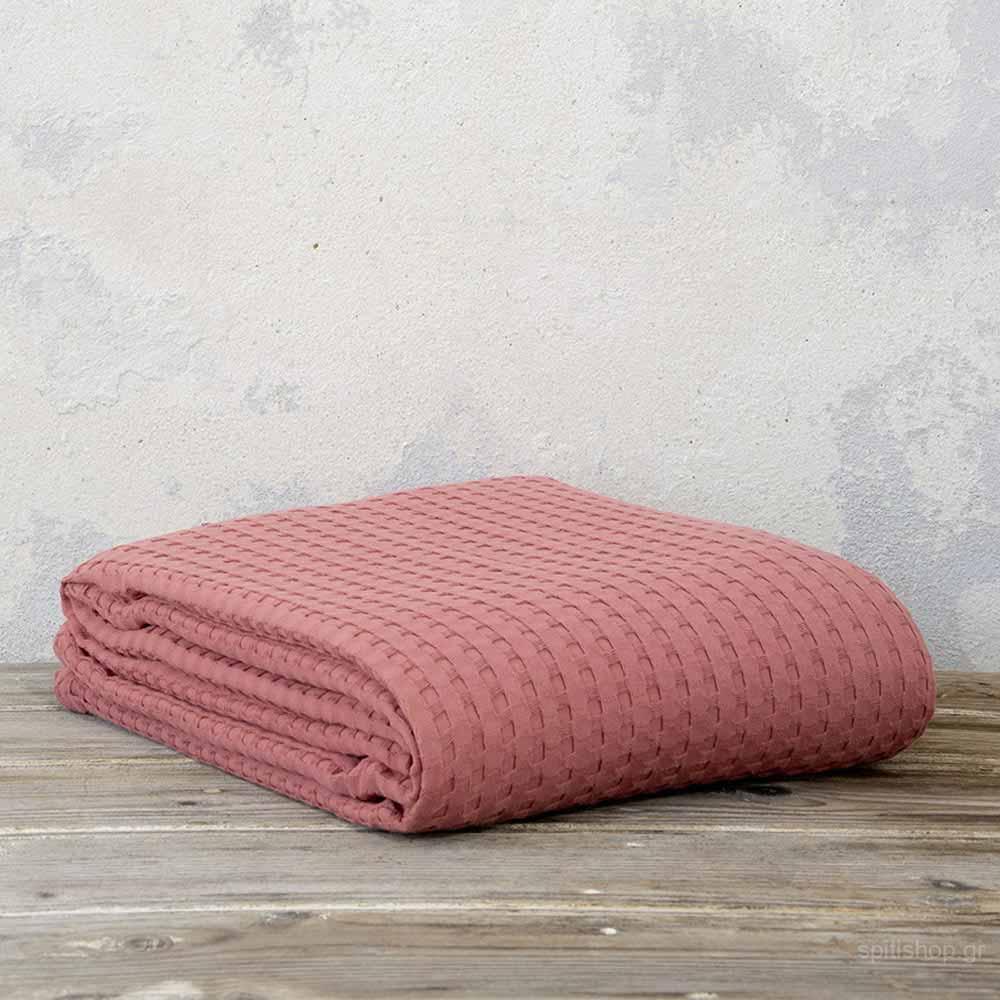 Κουβέρτα Πικέ Υπέρδιπλη Nima Bed Linen Habit Terracotta