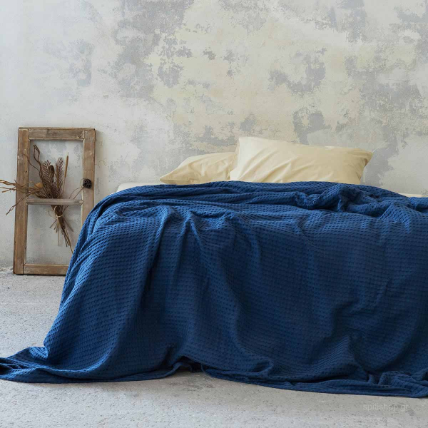 Κουβέρτα Πικέ Μονή Nima Bed Linen Habit Navy Blue