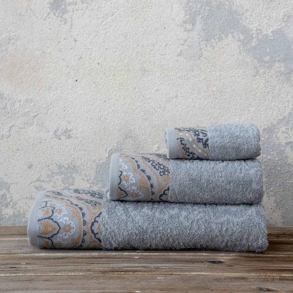 Πετσέτες Μπάνιου (Σετ 3τμχ) Nima Bath Amonde Light Grey