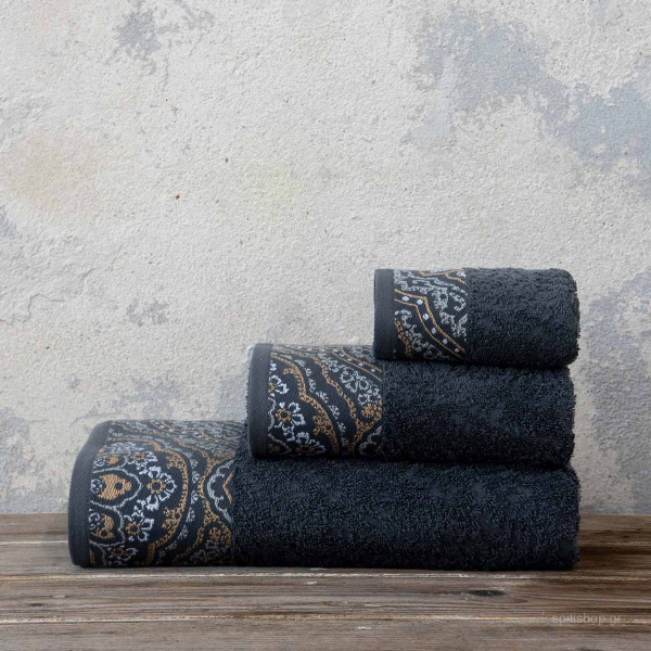 Πετσέτες Μπάνιου (Σετ 3τμχ) Nima Bath Amonde Dark Grey